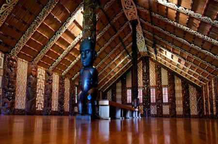 treaty: WAITANGI - OCTOBER 02: Interior view of the Maori meeting house Marae near the Treaty House on October 02 2012 in Waitangi, New Zealand. Editorial