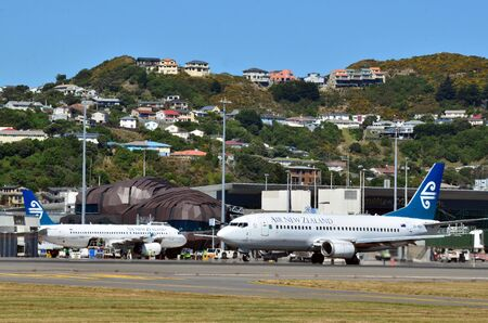 nz: WELLINGTON - FEB  23:Air New Zealand Boeing 767 planes  in Wellington International Airport on Feb 23 2013.Its the third-busiest airport in NZ handling about 5 million passengers a year. Editorial