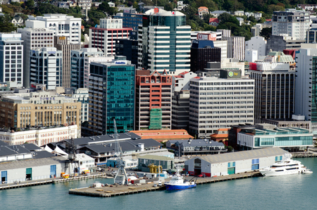 australasia: WELLINGTON - MAR 04:Aerial view of queens wharf on March 04 2013 in Wellington, NZ.Its one of the busiest parts of Wellington city waterfront and the primary symbolic entry to the waterfront. Editorial