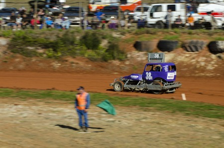 stock car: TAIPA, NEW ZEALAND - JUNE 02 2012: A super stock car during a dirt track racing on June 02 2012 in Taipa speedway, New Zealand.