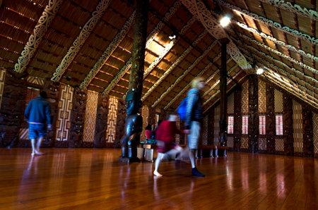 treaty: WAITANGI - OCTOBER 02: Visitors at the Maori meeting house Marae near the Treaty House on October 02 2012 in Waitangi, New Zealand. Editorial