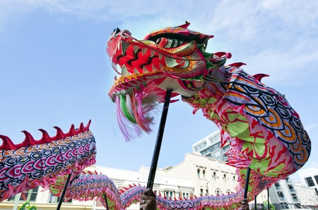 chinese cartoon: WELLINGTON - FEB 24:Chinese dragon during the Year of the lunar snake on February 24 2013 Wellington,NZ.The Chinese Spring Festival is the most important traditional Chinese holidays.