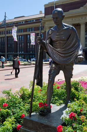 mahatma: WELLINGTON - FEB 25: Monument of Mahatma Gandhi outside the Train Station of Wellington, New Zealand, on February 25 2013.