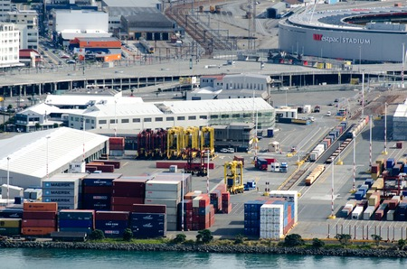 strategically: WELLINGTON - MAR 04:Aerial view of CentrePort on March 04 2013 in Wellington NZ.Its New Zealands most strategically situated intermodal hub, road, rail, domestic and international shipping services.