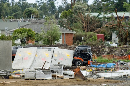 sheltered: AUCKLAND - DEC 06:The three men died when they were crushed by a falling concrete slab on the Hobsonville High School construction site, while they sheltered in a truck in Hobsonville Auckland, New Zealand on December 6, 2012. Editorial