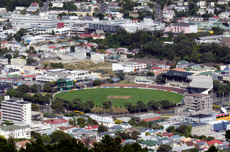 historic place: WELLINGTON - MAR 04:Aerial view of Wellington Basin Reserve on March 04 2013.Its Historic Place status and its age make it the most famous cricket ground in New Zealand.
