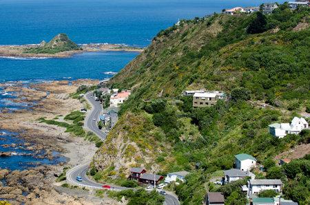 wellington: Aerial view of Island Bay in Wellington, New Zealand.