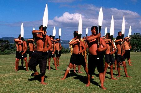 WAITANGI - FEB 6:Maori warriors perform Haka dance during Waitangi Day on February 6 2004 in Waitangi NZ.It's a New Zealand public holiday to celebrate the signing of the Treaty of Waitangi in 1840