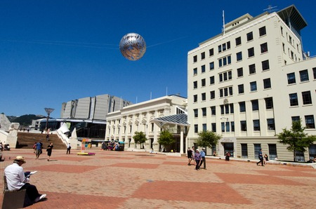 wellingtons: WELLINGTON -  MAR 01: Wellingtons Civic Square on March 01 2013, New Zealand. The square is used for public events and is a popular place for office workers to eat their lunch on warm summer days.