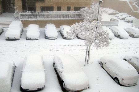 precipitación: JERUSALÉN - 10 de enero: Coches en el estacionamiento cubre en la nieve en Januart 10 de 2013 en Jerusalén, Israel. La nevada más grande ya que el capital de 1992 libras, paralizando el transporte y llevar más de 20 cm de precipitación. Editorial