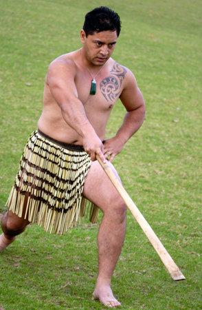 reenact: KAITAIA- FEB 6:Maori man reenact the signing of the treaty of Waitangi on February 6 2005 in Kaitaia NZ.Its New Zealand public holiday to celebrate the signing of the Treaty of Waitangi in 1840