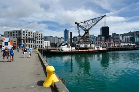 visitors area: WELLINGTON - FEB 24: Visitors at Wellington Waterfront on February 24 2013. Wellington is the capital city and second most populous urban area of New Zealand as It is home to 395,600 residents. Editorial