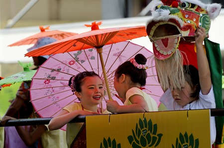 year of the snake: WELLINGTON - FEB 24:A Chinese children celebrate the Year of the lunar snake on February 24 2013 Wellington,NZ.The Chinese Spring Festival is the most important traditional Chinese holidays.