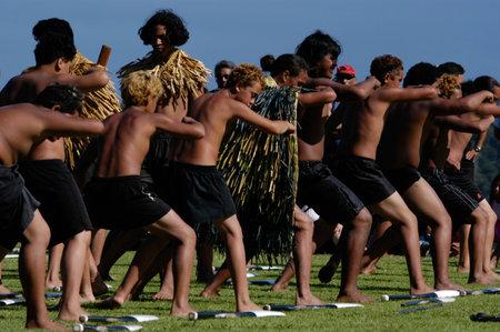 WAITANGI - FEB 6:Maori warriors perform Haka dance during Waitangi Day on February 6 2004 in Waitangi NZ.Its a New Zealand public holiday to celebrate the signing of the Treaty of Waitangi in 1840 Editorial