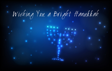 Greeting card for the Jewish holiday of Hanukkah. Menorah or Hanukkiya shaped out of stars in the night sky for the Jewish holiday of Hanukkah written with the blessing - Wishing You a Bright Hanukkah
