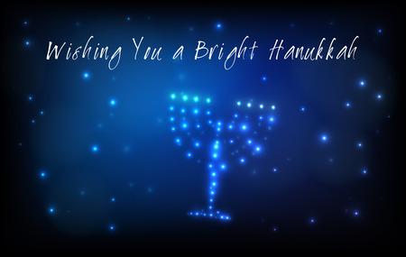 estrella de david: Tarjeta de felicitación para la fiesta judía de Hanukkah. Menorah o hanukkiya en forma de estrellas en el cielo de la noche para la fiesta judía de Hanukkah por escrito con la bendición - Deseándole un Jánuca brillante