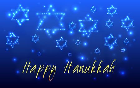 하누카의 유대인 휴일 인사말 카드. 다윗의 별은 축복으로 작성 하누카의 유대인 휴일의 밤 하늘에 별의 개 모양 - 해피 하누카 일러스트