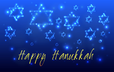 Greeting card for the Jewish holiday of Hanukkah. Star of David shaped out of stars in the night sky for the Jewish holiday of Hanukkah written with the blessing - Happy Hanukkah