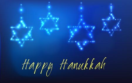 Carte de voeux pour la fête juive de Hanoukka. Étoile de David en forme sur des étoiles dans le ciel de la nuit pour la fête juive de Hanoukka écrite avec la bénédiction - Happy Hanukkah Vecteurs