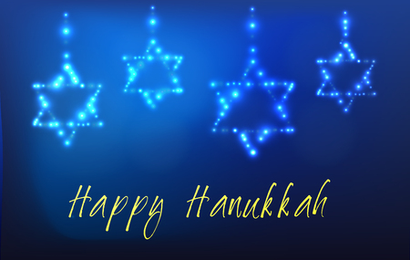 jewish background: Greeting card for the Jewish holiday of Hanukkah. Star of David shaped out of stars in the night sky for the Jewish holiday of Hanukkah written with the blessing - Happy Hanukkah