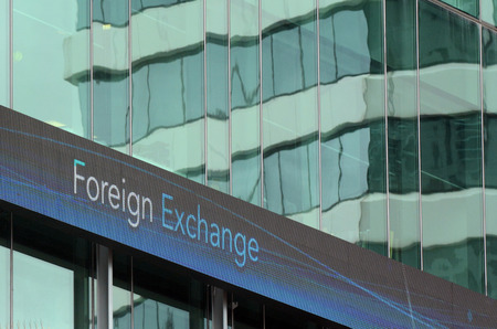 international trade commission: Foreign exchange sign on an outdoor board. Money concept - Horizontal Stock Photo