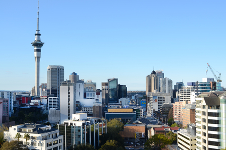zealand: AUCKLAND - SEP 29 2015:Panoramic view of Auckland CBD skyline.Auckland is frequently ranked within the worlds top 10 most liveable cities Editorial