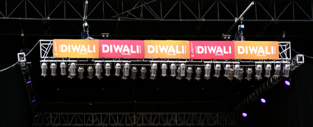 religious clothing: AUCKLAND,  NZL - OCT 18 2015:The main stage of Diwali festival in Auckland, New Zealand.Its the most ancient and biggest Hindu festival in India celebrated in autumn every year
