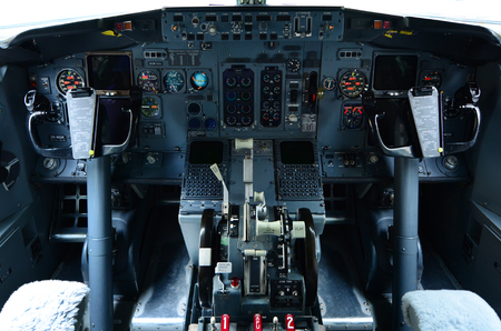 continuously: AUCKLAND - OCT 18 2015:Boeing 737 cockpit.Its the best-selling jet commercial airliner, continuously manufactured since 1967 with 8,725 aircraft delivered and 4,243 orders as of September 2015.