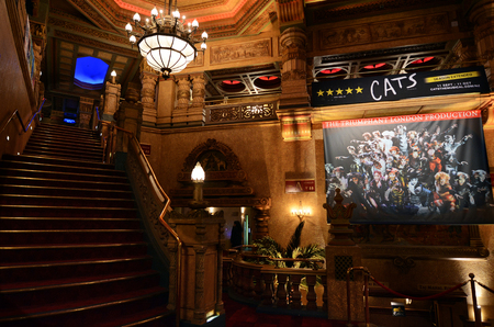 translated: AUCKLAND -  OCT 07 2015:Cats musical show in Civic Theatre.As of 2015, Cats is 3rd longest-running show in Broadway history, been performed around the world and translated into more than 20 languages. Editorial