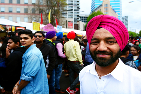 religious clothing: AUCKLAND,  NZL - OCT 18 2015:Indian men celebrating Diwali festival in Auckland,New Zealand.Its the most ancient and biggest Hindu festival in India celebrated in autumn every year Editorial