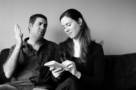 the spouse: Couple disagree about expectation of life at home. (BW). Spouse relationship concept Stock Photo
