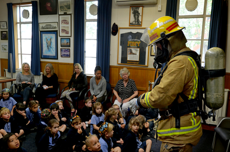 AUCKLAND  - OCT 27 2015:Fire Safety Education day in Auckland City Fire Station, New Zealand.Each year over 20,000 fires are attended by New Zealand Fire Service, including nearly 5,000 house fires. Éditoriale