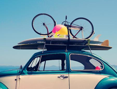Vintage Zomervakantie vakantie reis, Reizen concept met kopie ruimte Stockfoto