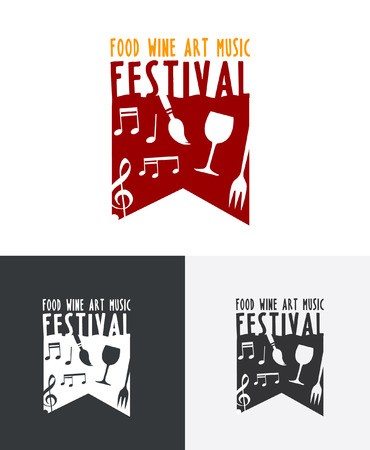 local festivals: Festival Logo showcasing talent and produce such as wine, food, fun, music and artwork.