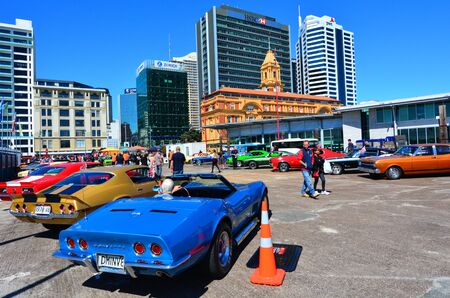 supercar: AUCKLAND - NOV 05 2015:Public US classic muscle car show in Auckland, New Zealand.Its A large V8 engine car fitted in a 2-door of family-style mid-size or full-size car designed for 4-5 passengers. Editorial