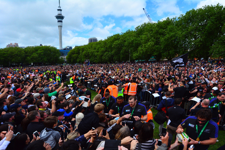 victoria park: AUCKLAND,  NZL - NOV 04 2015:All Blacks team thanks to their fans in Victoria Park Auckland, New Zealand.The All Blacks are the holders of the Rugby World Cup in 2011 and 2015. Editorial