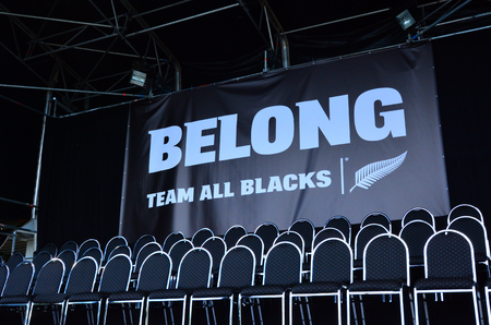 blacks: AUCKLAND - NOV 05 2015:Empty seats of All Blacks rugby team players.The All Blacks are the holders of the Rugby World Cup  2015 but some may hang up the boots after this years Rugby World Cup.