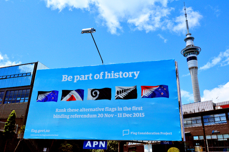 scheduled: AUCKLAND - NOV 04 2015:Gaint billboard with the top 5 alternative new flags.New Zealand Parliament  scheduled a two-stage binding referendum that is expected to cost 25.7 million Editorial