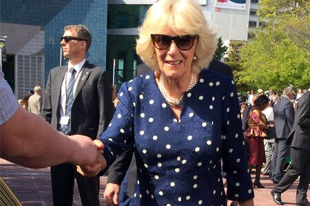 apparent: AUCKLAND - NOV 08 2015:Duchess of Cornwall C arrive at Aotea Square, in Auckland New Zealand for a public walk.  is the second wife of Charles, Prince of Wales, who is the eldest child and heir apparent of Queen Elizabeth II.