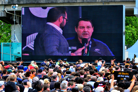 steve: AUCKLAND,  NZL - NOV 04 2015:All Blacks coach Steve Hansen speek to the crowd in Victoria Park Auckland, New Zealand.The All Blacks are the holders of the Rugby World Cup in 2011 and 2015.