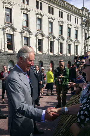 prince charles of england: AUCKLAND - NOV 08 2015:Prince of Wales C arrive at Aotea Square, in Auckland New Zealand for a public walk.He is the oldest person to be next-in-line to become king of Great Britain.