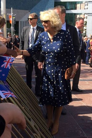 eldest: AUCKLAND - NOV 08 2015:Duchess of Cornwall C arrive at Aotea Square, in Auckland New Zealand for a public walk.  is the second wife of Charles, Prince of Wales, who is the eldest child and heir apparent of Queen Elizabeth II.