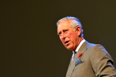 AUCKLAND - NOV 08 2015:Prince of Wales C visit in Auckland New Zealand.He is the oldest person to be next-in-line to become king of Great Britain.