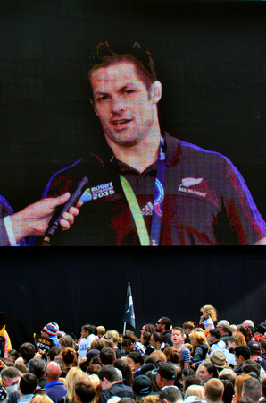 victoria park: AUCKLAND,  NZL - NOV 04 2015:Richie McCaw speek to the crowd in Victoria Park Auckland, New Zealand.The All Blacks are the holders of the Rugby World Cup in 2011 and 2015.