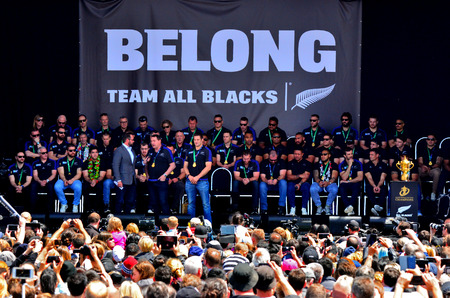 all in: AUCKLAND,  NZL - NOV 04 2015:All Blacks coach Steve Hansen and Richie McCaw speek to the crowd in Victoria Park Auckland, New Zealand.The All Blacks are the holders of the Rugby World Cup in 2011 and 2015.