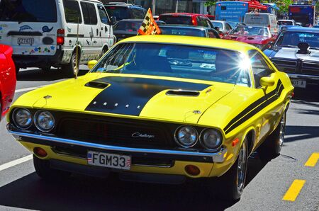 challenger: AUCKLAND,  NZL - NOV 05 2015:Dodge Challenger in a public US muscle cars V8 car show in Auckland, New Zealand.A total of 29,883 Challengers were built during the 71 model year.