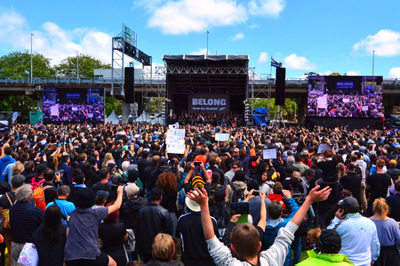 victoria park: AUCKLAND,  NZL - NOV 04 2015:Thousands of people packed Victoria Park in central Auckland for All Blacks victory parade.The All Blacks are the holders of the Rugby World Cup in 2011 and 2015