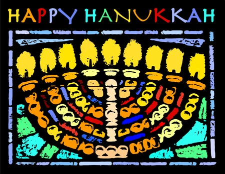 chanuka: Illustration card with a traditional Hanukkah for the Jewish holiday of Hanukkah Illustration