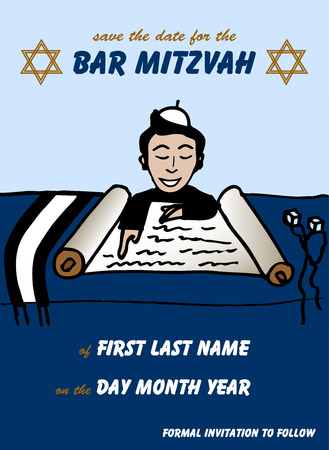 talit: Vector illustration of a Jewish boy reading the torah for a Jewish Bar Mitzvah ceremony