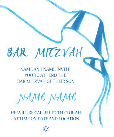 Vector illustration of a Jewish boy reading the torah for a Jewish Bar Mitzvah ceremony